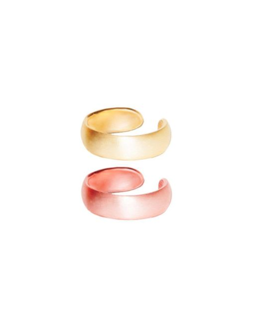 Dutch Basics - Metallic Pair Small Ear Cuffs In Gold And Rose Plated Silver - Lyst