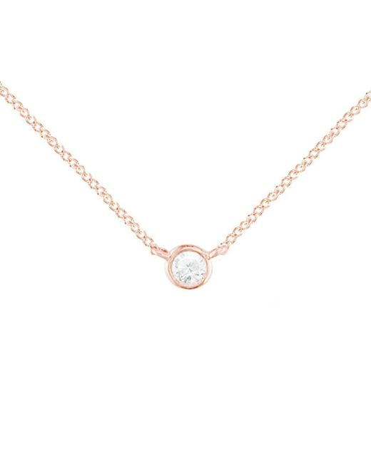 London Road Jewellery - Metallic Diamond Raindrop Solitaire Rose Gold Pendant Necklace - Lyst