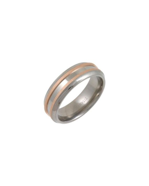 Star Wedding Rings - Black Titanium And 9kt Rose Gold Inlay Flat Court Shape Matt Embossed Ring - Lyst