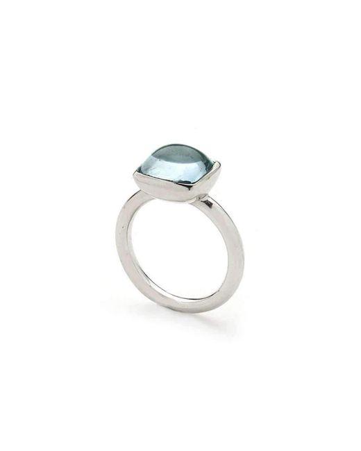 Julia Lloyd George - Metallic White Gold Aquamarine Ring - Lyst