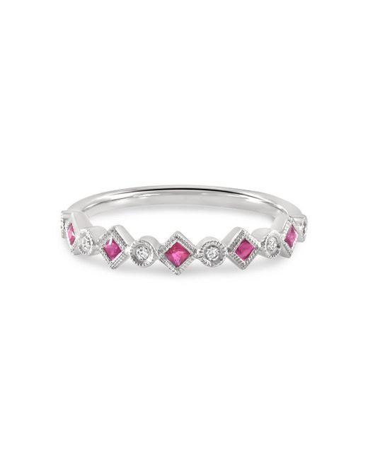 Estenza - Metallic Pam Ruby White Gold Stacking Ring - Lyst