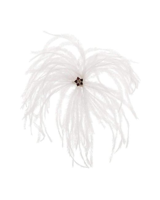 Augustine Jewels | Red Brooch Of Ostrich Feather And Garnet Hearts | Lyst