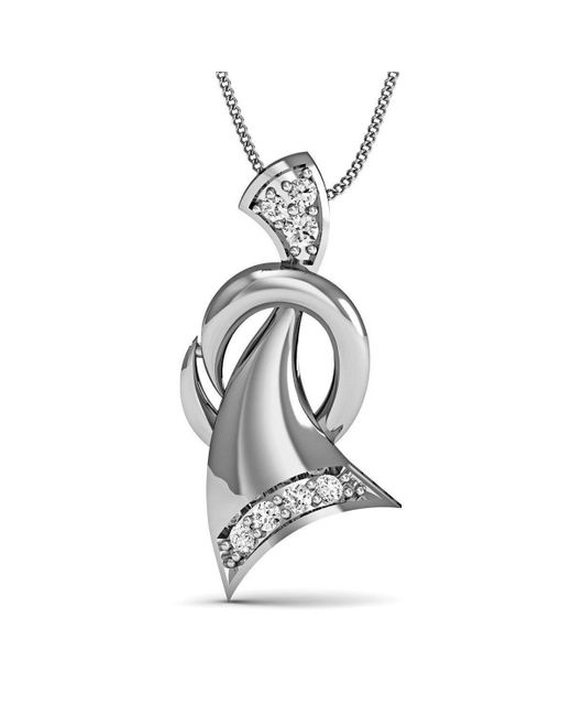 Diamoire Jewels - Metallic Hand Carved Quality 10kt White Gold Nature Inspired Diamond Pendant - Lyst