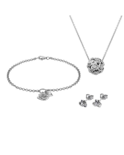 Lily and Lotty | Metallic Rose Necklace, Bracelet & Earrings Set | Lyst