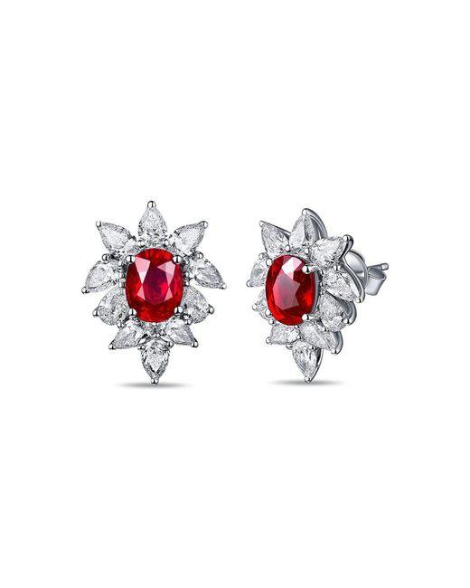 SILVER YULAN - Multicolor Cushion Cut Ruby Diamond Studs - Lyst