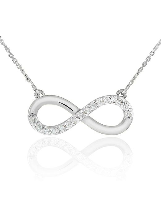 QP Jewellers - Metallic Cz Infinity Pendant Necklace In 9kt White Gold - Lyst