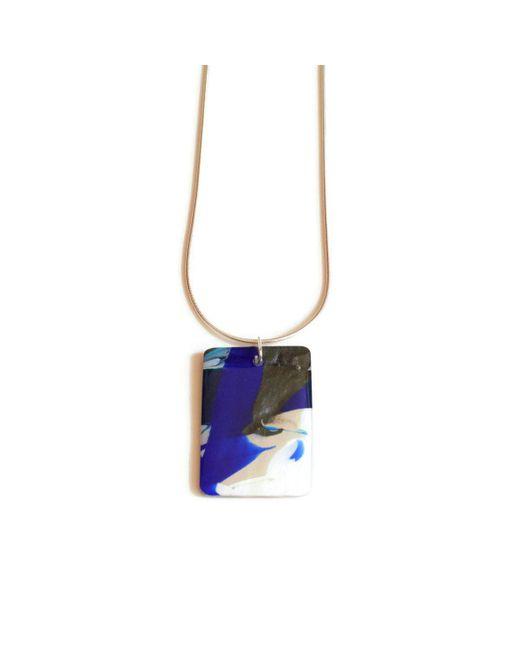 JoJo Blue Design - Ocean Blue Rectangle Pendant - Lyst