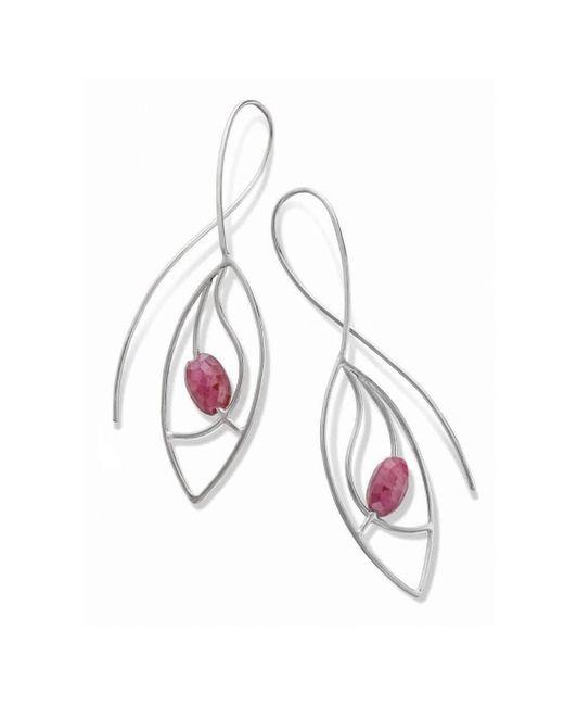 Janice Zethraeus - Metallic Silver Ruby Frond Earring - Lyst