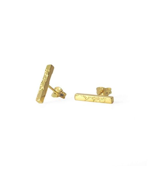 Sara Gunn - Metallic Skin Textured Bar Stud Earrings - Lyst
