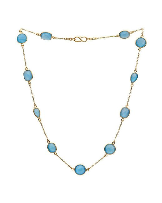 Donatella Balsamo - Metallic Amazonia Blue Chalcedony Chain Necklace Gold Plated - Lyst
