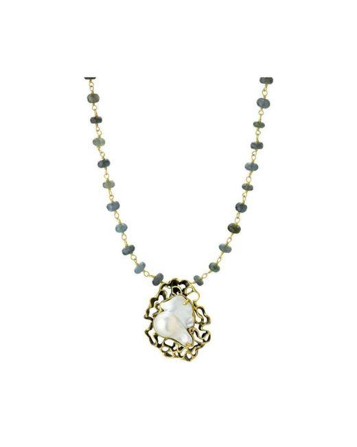 Elisa Ilana Jewelry - Metallic Pearl & Moss Aquamarine Necklace - Lyst