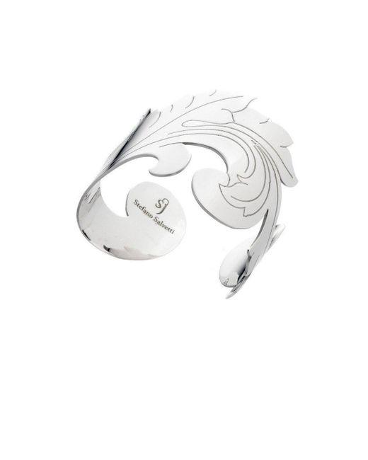 Stefano Salvetti - Metallic Silver Rigid Bracelet In Bronze - Lyst