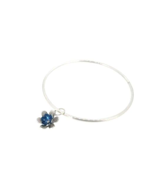 Sian Bostwick Jewellery - Multicolor Forget-me-not Double Flower Charm Bangle - Lyst
