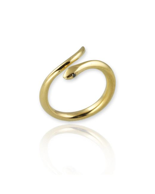 Jana Reinhardt Jewellery - Metallic Snake Ring In Yellow Gold Plated Silver With Black Diamonds - Lyst