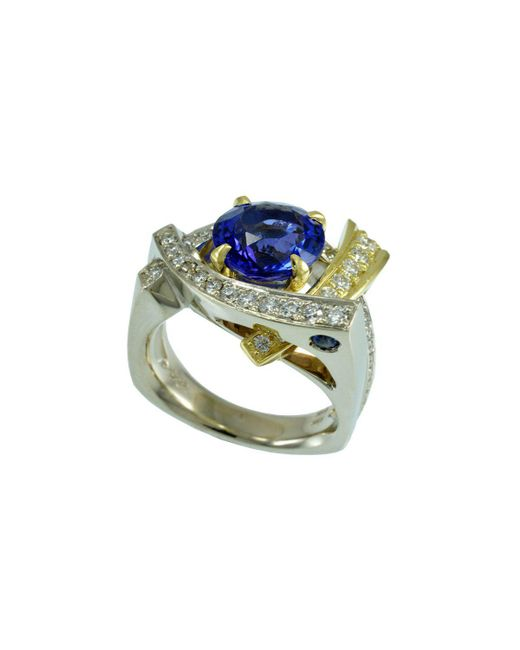 Alex Gulko Custom Jewelry | Multicolor Tanzanite White Gold Ring | Lyst
