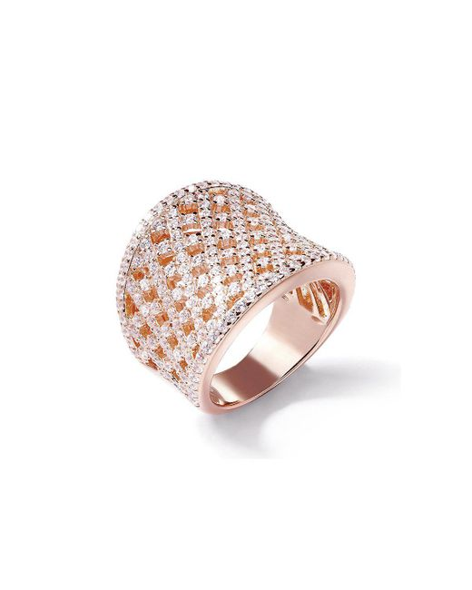 Lustre of London | Pink Rose Lattice Curve Ring | Lyst