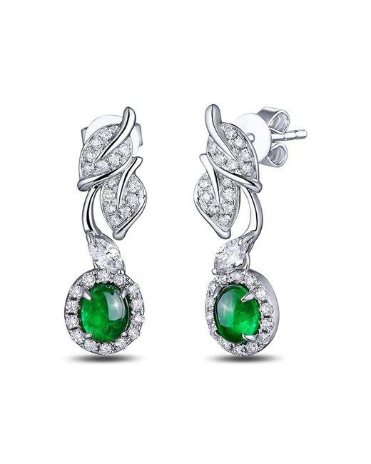 SILVER YULAN | Green Cabochon Emerald Diamond Leaf Earrings | Lyst