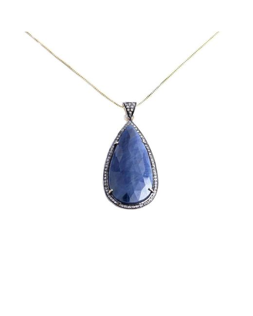M's Gems by Mamta Valrani - Drop Of Midnight Blue Sapphire And Diamond Pendant With Chain - Lyst