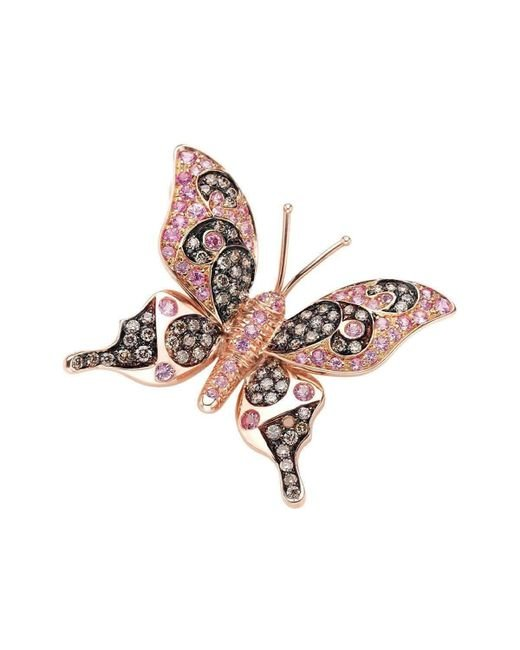 Pinomanna - Multicolor Rose Gold & Pink Sapphire Natural Chic Butterfly Necklace | - Lyst