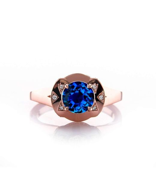 Brian Gavin Diamonds | Multicolor Domed Bow Sapphire And Rose Gold Engagement Ring | Lyst