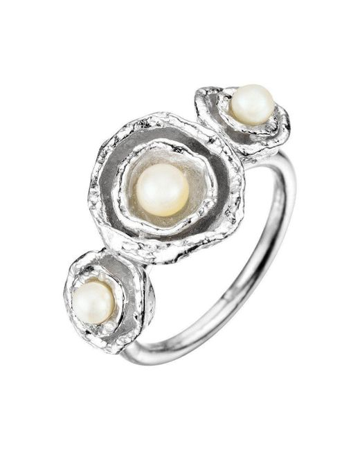 Joseph Lamsin Jewellery - Metallic Cornish Seawater Shaped Triple Double Cup Designer Handmade Silver Pearl Ring - Lyst