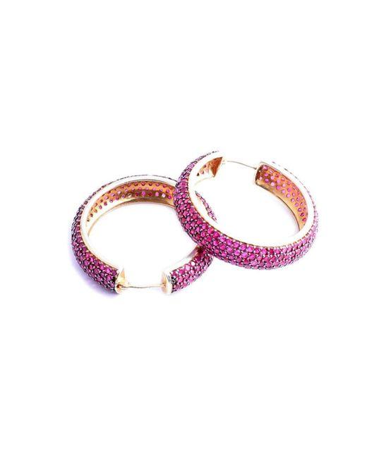 M's Gems by Mamta Valrani - Pink Fairy Dust Hoop Earrings With Rubies - Lyst