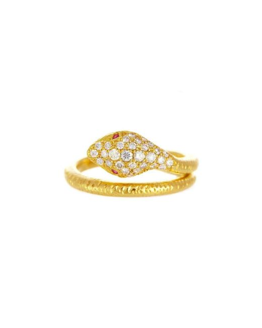 Alexis Danielle Jewelry | Metallic Yellow Gold Diamond Ruby Snake Ring | Lyst