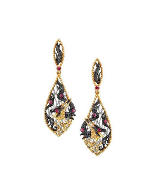 Chekotin Jewellery - Multicolor Gold, Diamond & Ruby Fire Element Dragon Drop Earrings   - Lyst