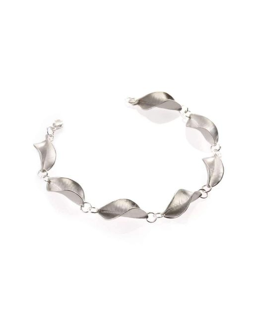 Collette Waudby - Metallic Forged Leaf Link Silver Bracelet - Lyst