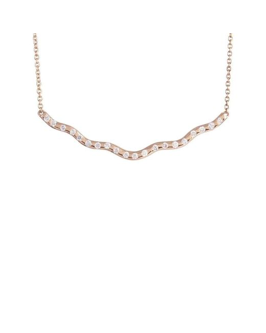 Joely Rae Jewelry - Metallic Rose Gold Wave Diamond Necklace - Lyst