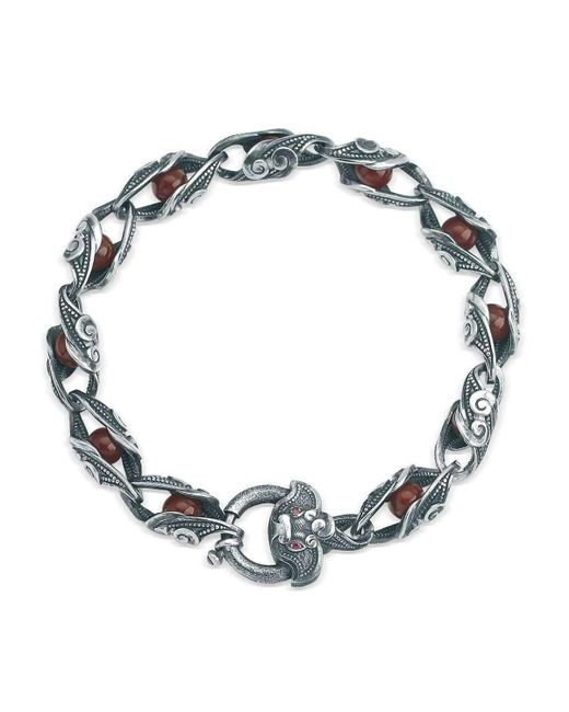 Suciyan - Multicolor Dragon Knot Red Agate And Ruby Sterling Silver Bracelet - Lyst