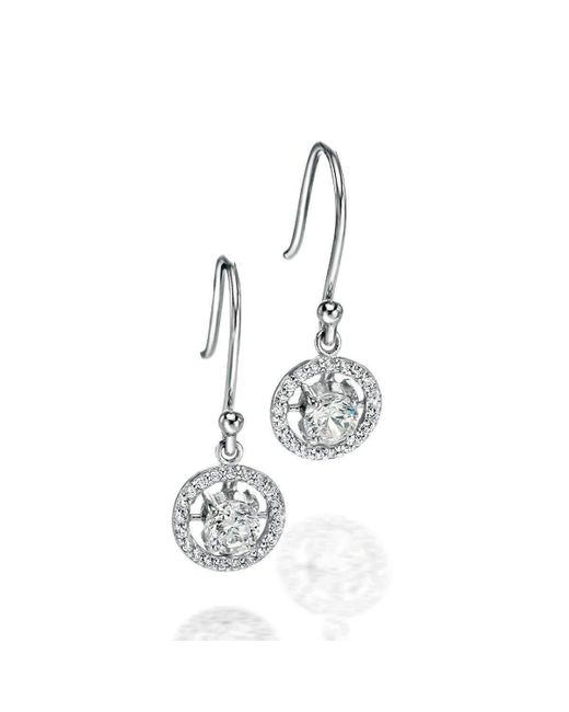 Fiorelli | Multicolor Clear Cz Circle Drop Earrings With Pav Halo | Lyst