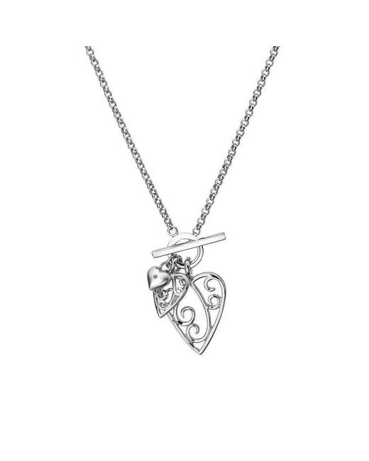 Lily and Lotty - Metallic Aimee Silver & Diamond Heart Necklace - Lyst