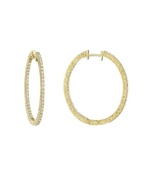 Penny Preville - Metallic Oval Diamond Hoop Earrings - Lyst