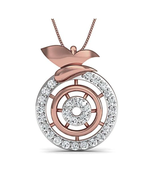 Diamoire Jewels | Metallic Inspired By Nature 14kt Rose Gold Pave Designer Diamond Pendant | Lyst