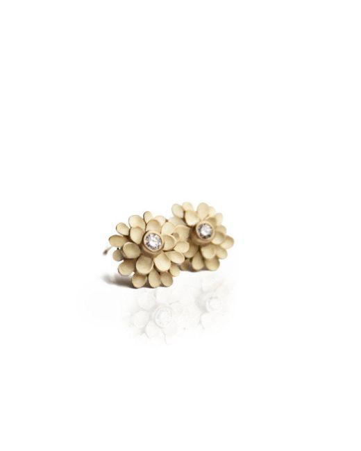 Dagmar Korecki - Metallic Dahlia 18kt Yellow Gold And Diamond Earrings - Lyst