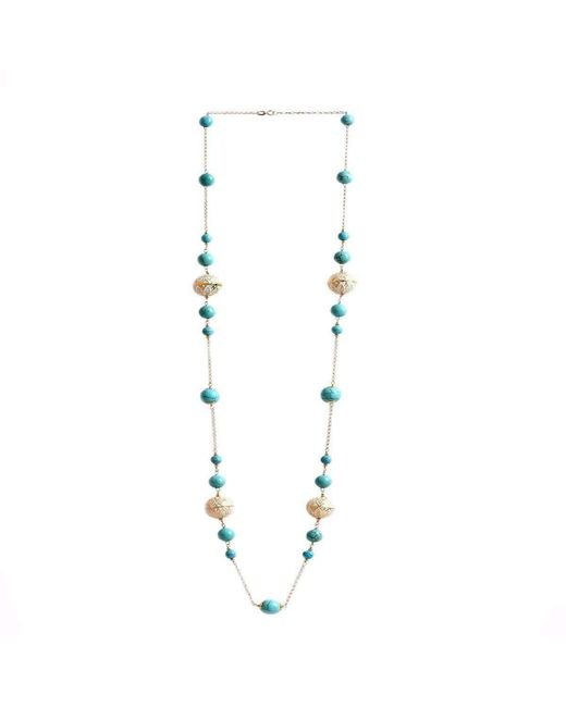 M's Gems by Mamta Valrani - Metallic Regal Hues Gold Chain With Turquoise And Enamel Beads - Lyst