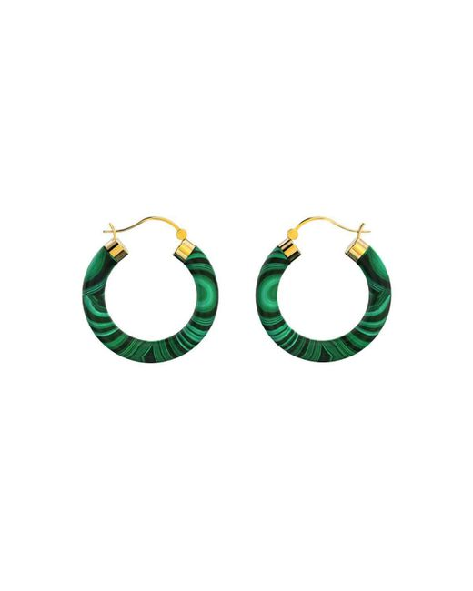 MARCELLO RICCIO - Metallic Yellow Gold Plated Sterling Silver Malachite Earrings - Lyst