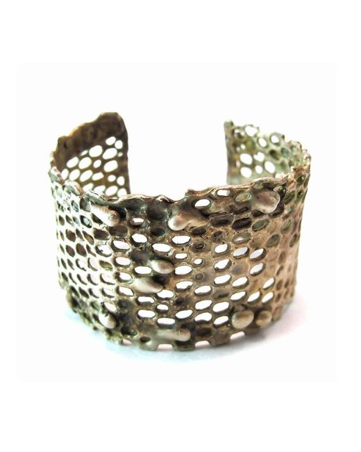 Private Opening   Metallic Honeycomb Oxidized Silver Cuff   Lyst