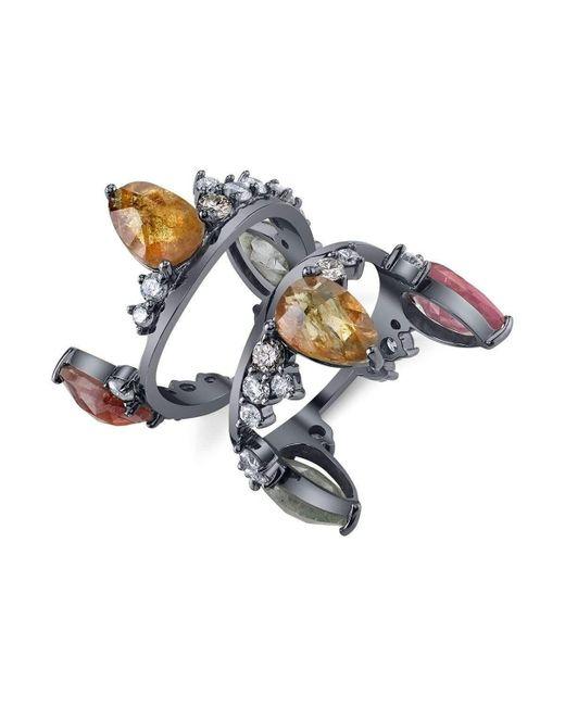 Bochic | Metallic Fancy Sapphire And Diamond Crown Ring | Lyst