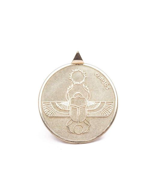 Conges | Green Gold Scarab Two Sided Coin Necklace | Lyst