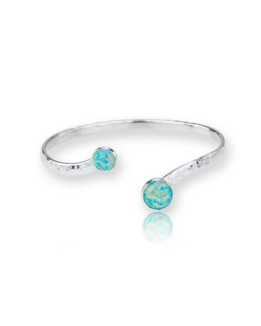 Lavan - Multicolor Sterling Silver Torq Bangle Set With Beautiful Green Opals - Lyst