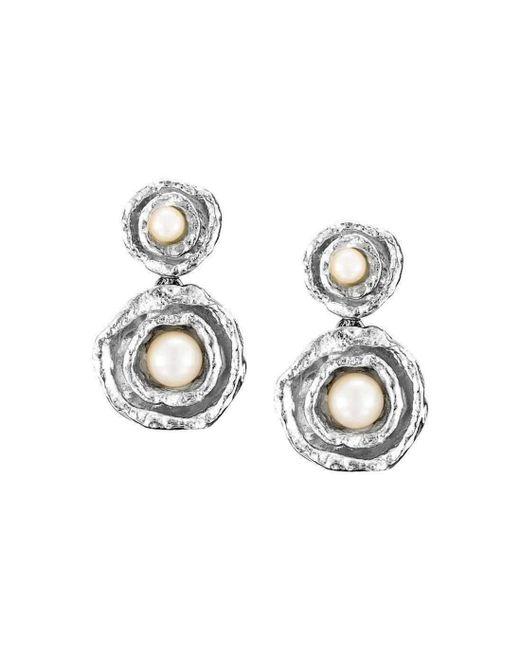 Joseph Lamsin Jewellery - Metallic Cornish Double Cup Drop Sterling Silver Designer Handmade Pearl Earrings - Lyst