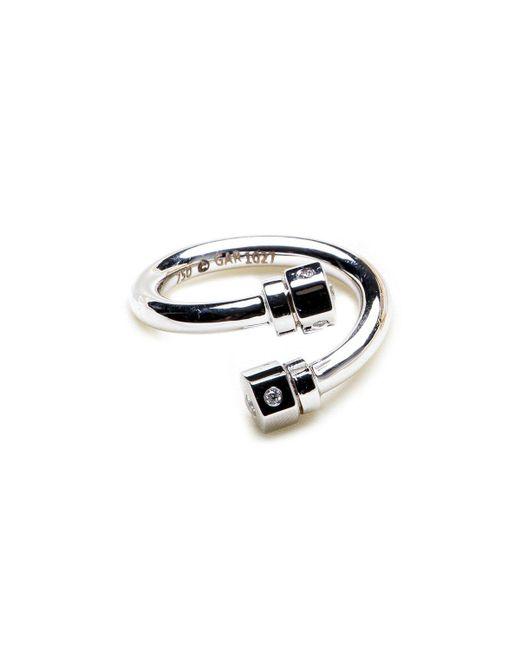 GHADA ALBUAINAIN - Metallic Pipe In White Gold Twisted Ring - Lyst