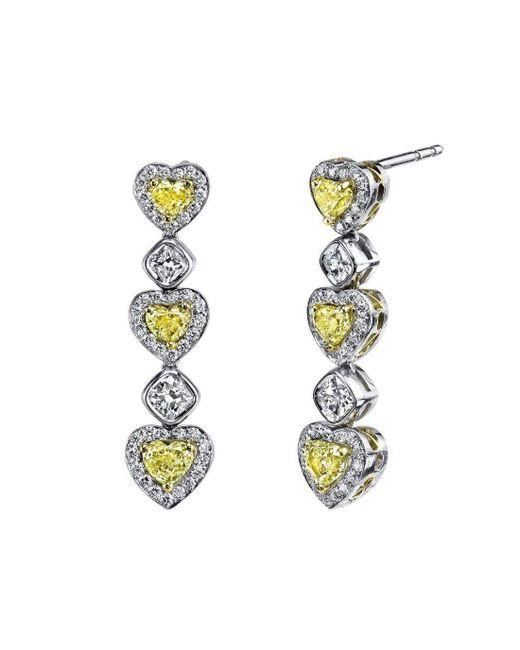 Harry Kotlar - Metallic Alternating Hearts & Cushion Cut Diamond Drop Earrings - Lyst