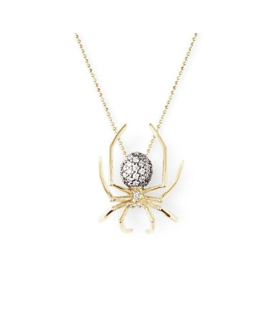 J.Herwitt - Metallic Large Spider Pendant Yellow Gold / Black Rhodium - Lyst