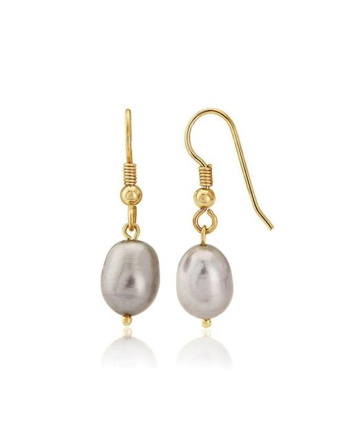 Lavan - Metallic 9kt Gold Large Grey Pearl Drop Earrings - Lyst