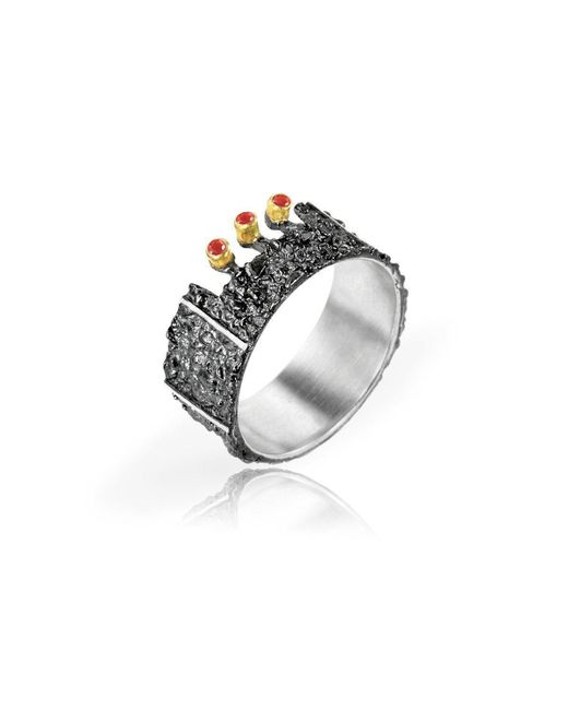 Apostolos Jewellery - Metallic The Earth Song 3 Oxidised Silver Ring - Lyst