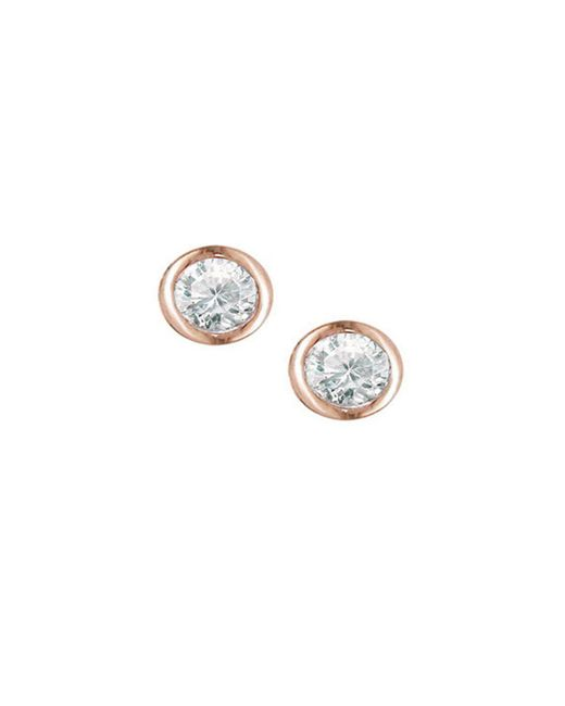 London Road Jewellery - Metallic Rose Gold Raindrop Diamond Solitaire Earrings - Lyst