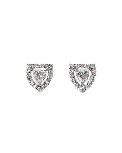 Ri Noor | Metallic Shield Solitaire Diamond Stud Earrings | Lyst